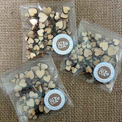 Image of Artcuts Mini Mixed Wooden Hearts Wedding Scatter Hearts Embellishments for Craft