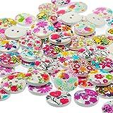 Westeng Klein Blumen Muster Knopf mit 2 Löchern verschiedene Farben aus Harz zum Nähen Scrapbooking Handarbeiten DIY 100 Stück/Packung