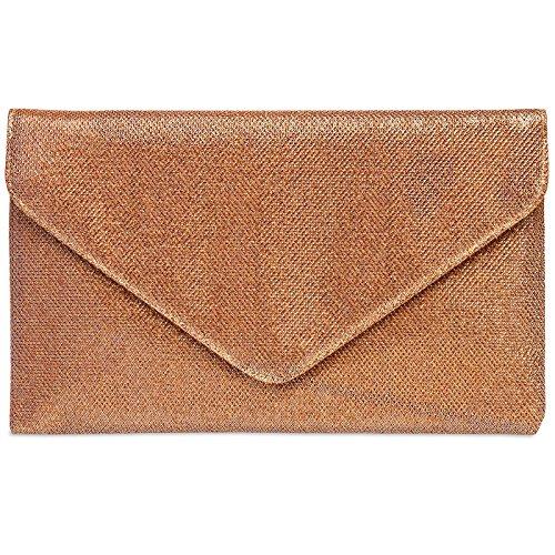 CASPAR TA357 große elegante Damen Glitzer Envelope Clutch Tasche / Abendtasche Bronze