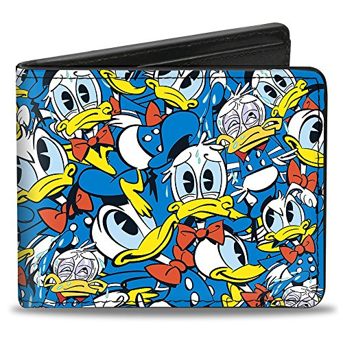 Buckle Down Men's Donald Duck 5-Poses Stacked Collage Bi-Fold Wallet, Donald Duck Poses Stacked Collage, Standard Size