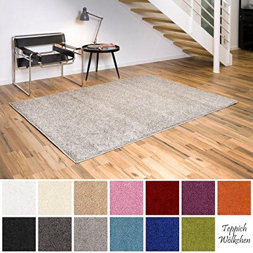 Shaggy-Teppich | Flauschige Hochflor Teppiche fürs Wohnzimmer, Esszimmer, Schlafzimmer oder Kinderzimmer | einfarbig, schadstoffgeprüft, allergikergeeignet (Grau, 240 x 340 cm)