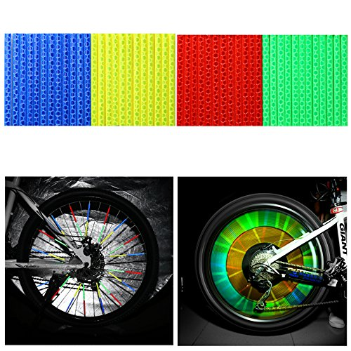 Tagvo Fahrrad Speichenreflektoren 4 Sets / 48 Stück Speichen Reflektor für Räder Kinderfahrrad (12 x Blau + 12 x Grün + 12 x Rot + 12 x Geld)