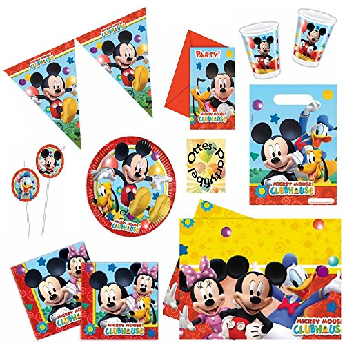 Mickey Mouse Clubhouse Party-Set Partygeschirr mit Dekoration 56 Teile für 6 Kinder