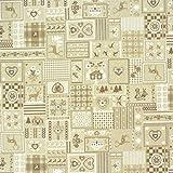 Dekostoff Patchwork Landhaus Hirsch natur braun weiß