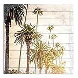 Cuadros Lifestyle Wandbild aus Holz | Holzbild | Shabby-Look | Landhaus | Palmen | Vintage | Geschenk, Größe:ca. 50x50 cm