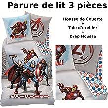 Avengers–Juego de cama (3pcs)–Funda de edredón (140x 200) + funda de almohada (63x 63) + sábana bajera (90x 190)–100% algodón–Estampado City