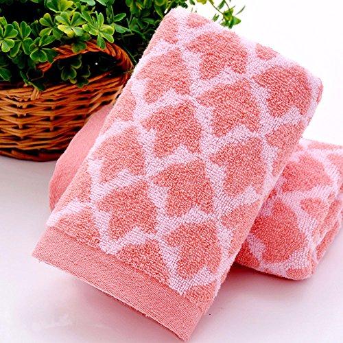 JJYP 2 pcs_Baumwolle Baumwolle Handtuch Handtuch täglichen Notwendigkeiten absorbierende Maske weich und bequem, Pink, 74 * 34 -