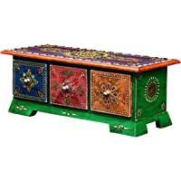 Shree MAJISA Art Wooden 3 Drawer Decorative Handicraft Box (Multicolour, 13.5 x 7 x 5 Inches)