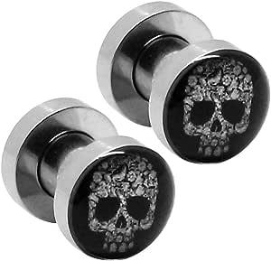2 Flesh Tunnel Estensore Plug Piercing Orecchio Tappo Logo Testa del Cranio Gotico Teschio 5 mm