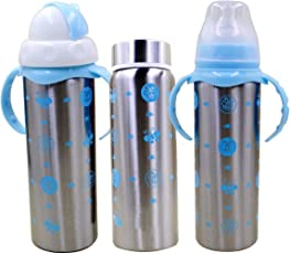 Ineffable 3 in 1 Multifunctional Baby Steel Feeding Bottle for Hot and Cold Milk 180 ml - Blue