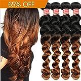 Richair 4 Tissage Bresilien Ondules Naturel Cheveux Vierges loose Wave Hair 4 Bundles 1B/30 Weft 50g (12pouces)
