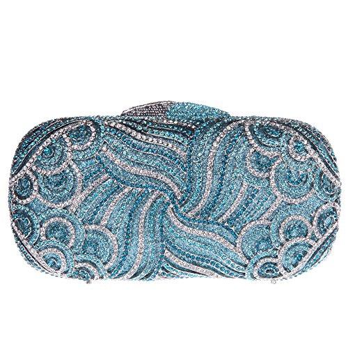 Bonjanvye Bling Rhinestone Clutch Paisley Clutch Hard Case Clutch Purse Rose Gold Blue