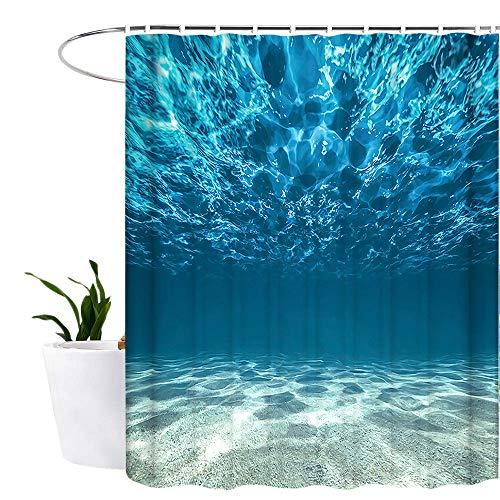 Lonior Duschvorhang Anti-Schimmel Textil Waschbar Anti-Bakteriel Badvorhänge 3D Wasserdicht Duschvorhänge 180x180 cm mit 12 Ringe für Badezimmer Blau Meer -