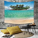 Tapestry, Attaccatura a muro arazzi, Murale d'arte,Island, Tropical Island Sandy Seaside Clear Water Luna di miele Destinazio,Copriletto Picnic Lenzuolo Coperta hippie Arazzo decorativo 180 x 230 cm