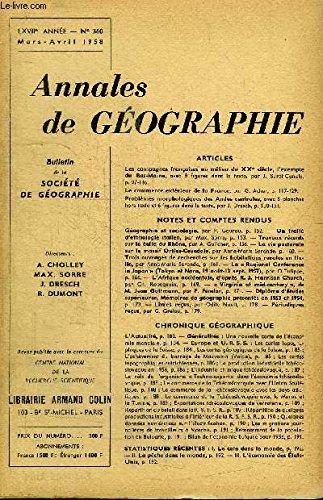 ANNALES DE GEOGRAPHIE N°360 - Les campagnes françaises au milieu du XXe siècle, le commerce extérieur de la France, ...