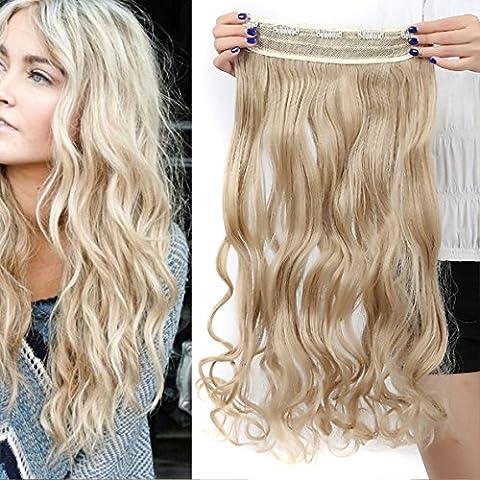 17 pouces (43cm) de Full Clip Tete dans les extensions de cheveux ondules boucles 3/4 t¨ºte d'une seule pi¨¨ce 5 clips blond de cendre