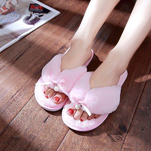 DogHaccd pantofole,Autunno Inverno home pin clip soffici pantofole donne indoor soggiorno anti-slittamento pantofole di cotone invernale coppie maschio di spessore Rosa2