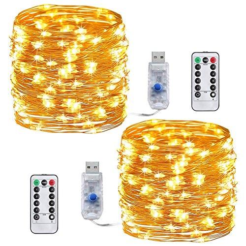 LED cadena de luces,Tonskooners[2 Pack] Luces de Cadena LED USB 10m, 100 LEDs, 8 modos de Iluminación guirnalda de luces, decoración para navidad, fiestas, bodas, jardines, festivals (blanco cálido con control remoto)
