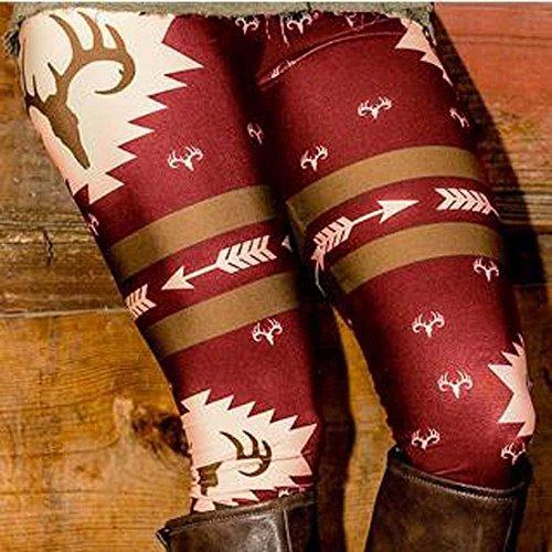 Ouneed® Femm Motif Legging Bottes Partenaire Rouge