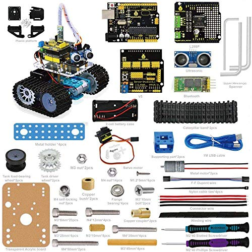 KEYESTUDIO Mini Tank Roboter für Arduino R3 Starter Project Smart Auto Kit Mit R3 inkl Tutorial Buch Stiel Bildung (Lego Cars Mini)