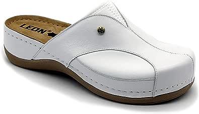 Leon 912 Sandali Zoccoli Sabot Pantofole Scarpe Pelle Donna