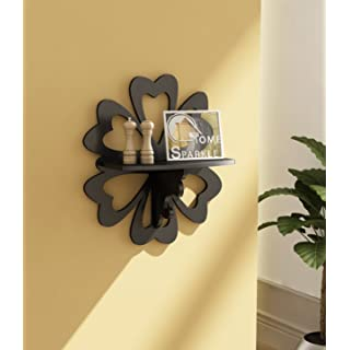 Home Sparkle Carved Floating Wall Shelf | MDF Carved Wall Shelves for Living Room Bedroom and Office Decor  Black