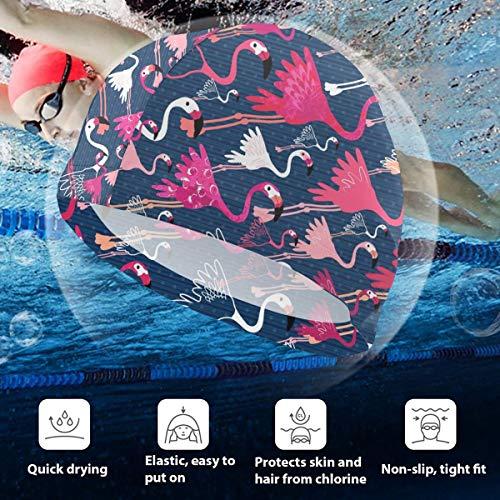 BigHappyShop Kids Swimming Cap Flamingos Silicone Waterproof Swim Cap Bathing Hair Quick Drying for Kids