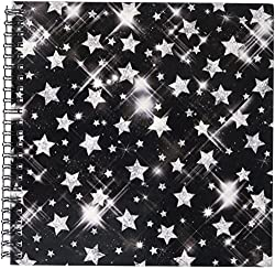 3dRose db_41083_1 Glitter Stars Silver Drawing Book, 8 by 8-Inch
