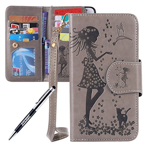 JAWSEU iPhone 6S Plus Custodia in Pelle Portafoglio, Cover iPhone 6 Plus, Lusso 3D Modello Goffratura Arts Lusso PU Leather Folio Case per iPhone 6/6S Plus Custodia Cover con Gel Silicone Interno Case Donna e gatto, Grigio