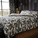 Just Contempo Camouflage Bettbezug-Set, cotton-polyurethane, grün, King