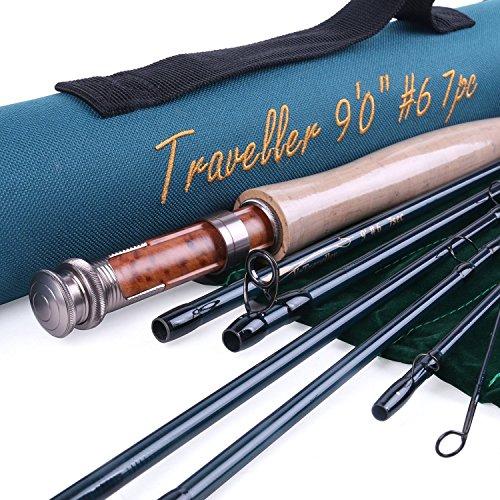 MAXCATCH für Reisende 7-teilige Flugangel IM10 Kohlenstoff Reise-Angel Fliegenfischen mit Cordura Röhre (6weight 9ft 7pieces)