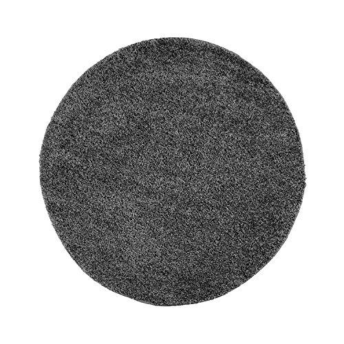 Shaggy-Teppich, Flauschiger Hochflor Wohn-Teppich, Einfarbig/ Uni in Dunkelgrau für Wohnzimmer, Schlafzimmmer, Kinderzimmer, Esszimmer, Größe: 80 x 80 cm Rund
