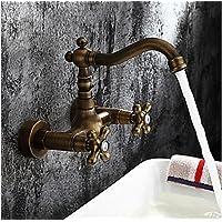 SBWYLT-Diametro di sedile di cucina europea rame antico rubinetto a parete lavabo Golden vasca a muro rubinetto valvola calda e fredda: