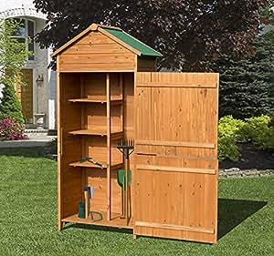 Outsunny armadio per attrezzi ripostiglio utensili da giardino in legno di abete 90 x 50 x 190 - Armadio porta attrezzi da giardino ...