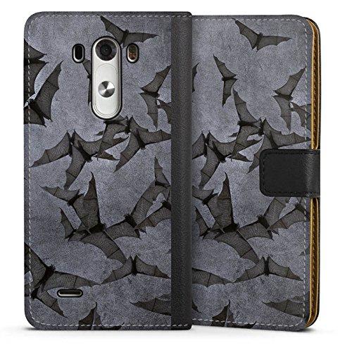 LG G3 Tasche Leder Flip Case Hülle Fledermaus Bat Vampir (G3-fledermaus-tasche)