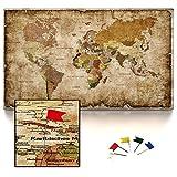 CanvasArts Weltkarte IV - Leinwand PINNWAND auf Keilrahmen - Vintage, deutsch Grunge Style 14.1651 (120 x 70 cm, einteilig)