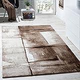 Paco Home Designer Teppich Modern Kurzflor Wohnzimmer Trendig Meliert Braun Beige Creme, Grösse:80x150 cm