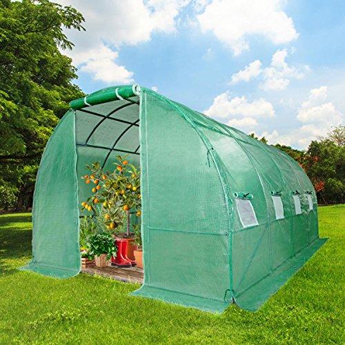BRAST Gewächshaus mit rostfreiem Stahlfundament 300x400cm 12m² Garten Tomaten Pflanzen-Haus Treibhaus Foliengewächshaus