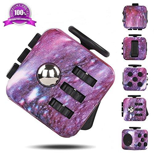 #Air Stresswürfel Fidget Cube Spielzeug, Hand Finger Plastikwürfel mit Click Ball, Fidget Cube in 6 verschiedenen Funktionen entlastet Stress für Kinder Erwachsene und Ältere (Galaxy Purple)#