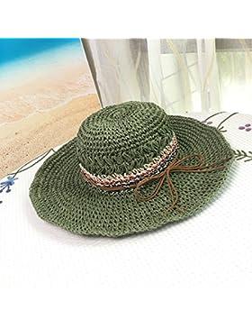 LVLIDAN Sombrero para el sol del verano Lady Anti-sol Gran cara ancha playa sombrero de paja verde estilo retro...