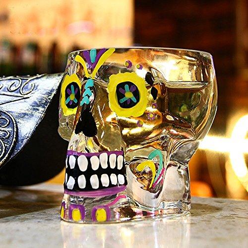 Totenkopf Glas Whiskey Trinkbecher Becher handgefertigt Tasse Halloween Dekoration Geschenke