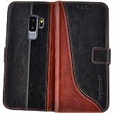 elephones Handy Hülle Samsung Galaxy S9 Plus Hülle (S9+) mit Kartenfächer Standfunktion Geldscheinfach Handy Tasche Samsung Galaxy S9 Plus Schutzhülle Flip Case Cover Schwarz - Braun