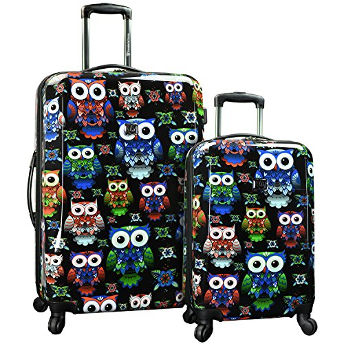 Traverler's Choice Colorful Owl 2-piece Hardside Expandable Luggage Set, Unisex-Erwachsene Gepäck-Set, Colorful Owl 2-piece Hardside Expandable Luggage Set, TC8200OL (Gepäck-set Hardside)