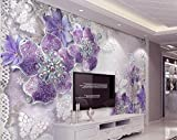 WAHAZC Große Wandbilder Seide Tapete 3D Wandgemälde Wandtapete Tapete Diamant Pflaume Rose Muster Hintergrund Moderne Europa Kunst Wandbild für Malerei Wohnkultur TV hintergrund wand Badezimmer Rest