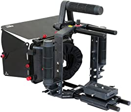 Filmcity Power Dslr Video Camera Cage With Handle Supports, Sun Hood Matte Box, Rail Rod System & Quick Release Plate (Fc-65-N)