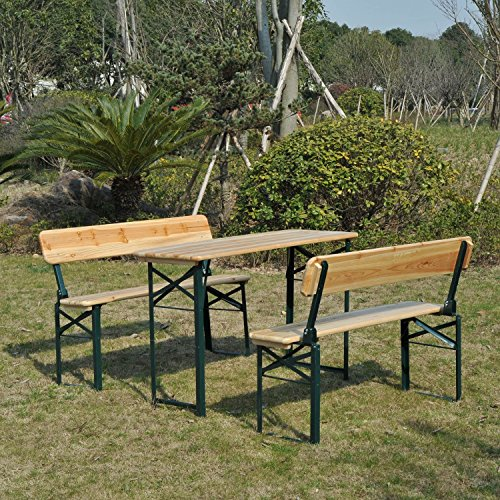 Portable Folding Camping Picnic Trestle Beer Table and 2 Bench Set ...