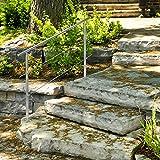 Relaxdays Treppengeländer Edelstahl Set, für Innen und Außen, Handlauf, 1,5 m lang, 2 Pfosten, 2 Querstreben, silber