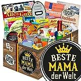 Beste Mama der Welt | 24x Allerlei | Geschenkkorb | Beste Mama der Welt | DDR Box | Geschenkideen für Mama | mit Viba, Pfeffi, Liebesperlen und mehr