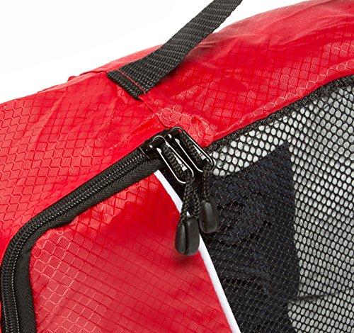 HOPEVILLE Kleidertaschen-Set 5-teilig, mit 3 Koffertaschen - PLUS einem Wäschebeutel und einem Schuhbeutel, Premium Packing Cubes für perfekt organisiertes Reisegepäck (Rot) Rot