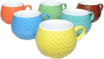 JRP MART Ceramic 130ml Tea and Coffee Cups(Multicolour)-Pack of 6